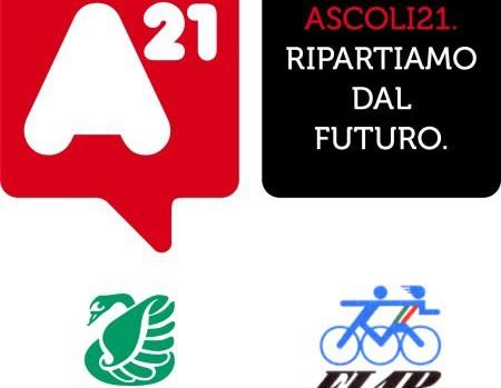 Logo Ascoli21 con Legambiente e Amici della Bicicletta