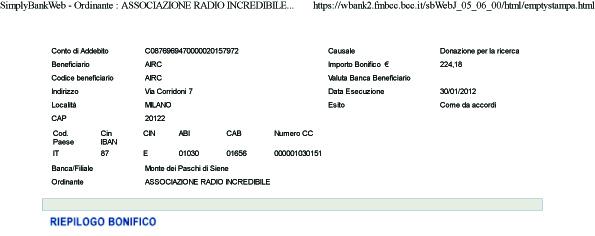 bonifico donazione airc 2012