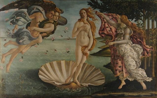 La nascita di Venere - Tempera su tela (172 cm x 278 cm) 1482 – 1485. Galleria Degli Uffizi, Firenze