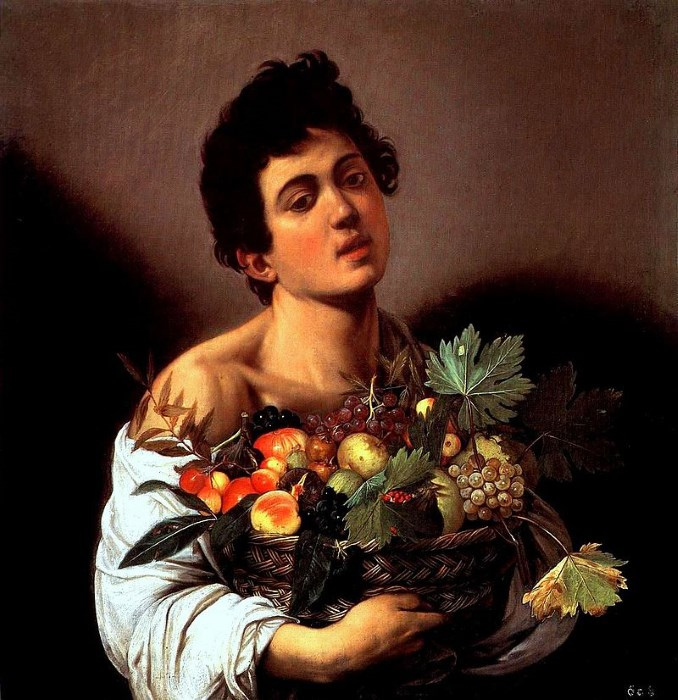 Il Fanciullo con canestra di frutta. Olio su tela (70 cm x 66 cm) 1593 -1594 . Galleria Borghese Roma